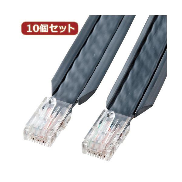 10個セット サンワサプライ アンダーカーペットLANケーブル(グレー・3m) KB-CP5-03X10【日時指定不可】