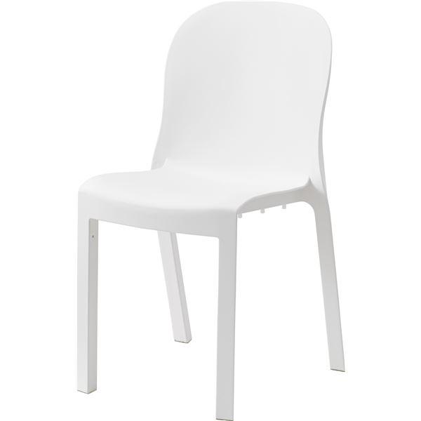 シンプル パーソナルチェア/椅子 4脚セット 【ホワイト】 幅47cm×奥行53cm×高さ84cm×座面高47cm 〔リビング 店舗〕【日時指定不可】