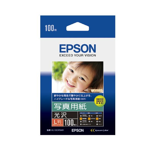 (まとめ) エプソン EPSON 写真用紙<光沢> L判 KL100PSKR 1箱(100枚) 【×10セット】【日時指定不可】