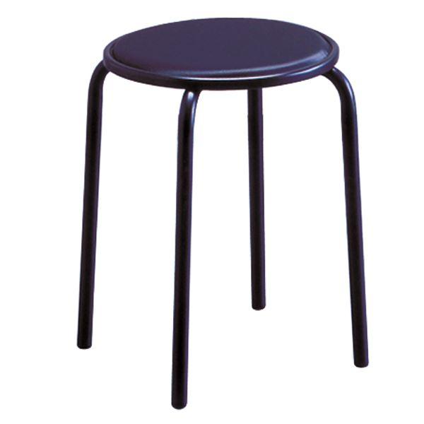 スタッキングチェア/丸椅子 【同色6脚セット ラインブラック×ブラック】 幅33cm 日本製 スチールパイプ 『サークルジャンボ』【代引不可】【日時指定不可】