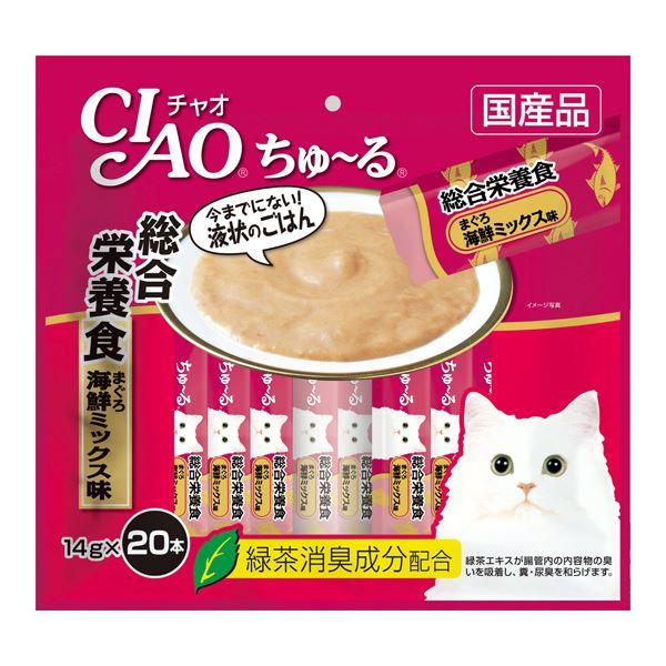 (まとめ)CIAO ちゅ~る 総合栄養食 まぐろ 海鮮ミックス味 14g×20本 (ペット用品・猫フード)【×16セット】【日時指定不可】