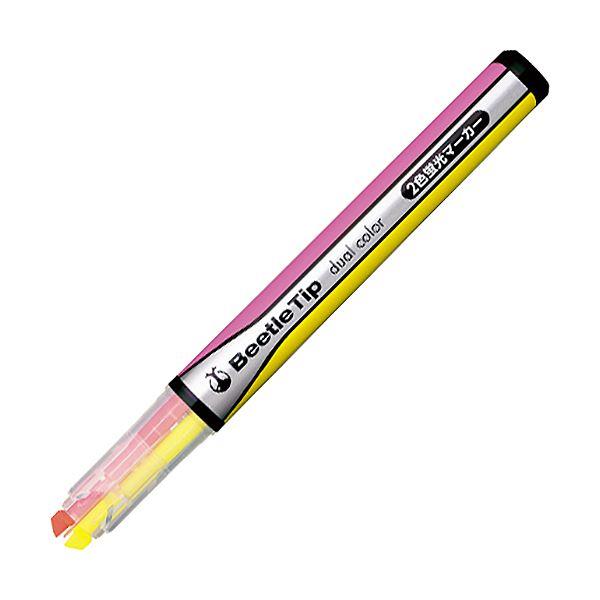 (まとめ) コクヨ 2色蛍光マーカービートルティップ イエロー×ピンク PM-L303-1-1P 1本 【×100セット】【日時指定不可】