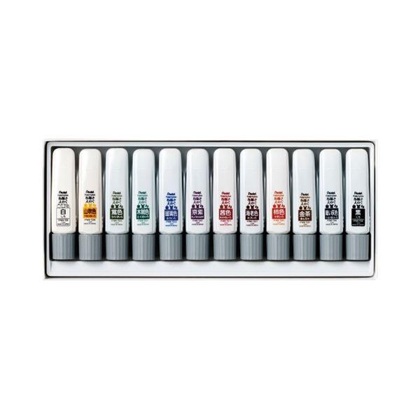 (まとめ) ぺんてる ファブリックファン布描きえのぐ 日本の伝統色 12色 FFWE-12W 1セット 【×10セット】【日時指定不可】