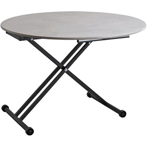 折りたたみ式天板付き リフトテーブル/ローテーブル 【グレイ】 幅120cm スチール製脚付き 『アイルス』 【組立品】【代引不可】【日時指定不可】