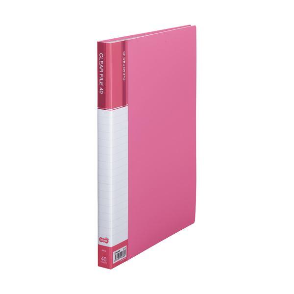 (まとめ) TANOSEE クリヤーファイル(台紙入) A4タテ 40ポケット 背幅23mm ピンク 1セット(8冊) 【×5セット】【日時指定不可】