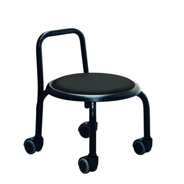 スタッキングチェア/丸椅子 【同色3脚セット ブラック×ブラック】 幅32cm スチールパイプ 『背付ローキャスターチェア ボン』【代引不可】【日時指定不可】