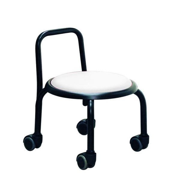 スタッキングチェア/丸椅子 【同色3脚セット ホワイト×ブラック】 幅32cm スチールパイプ 『背付ローキャスターチェア ボン』【代引不可】【日時指定不可】