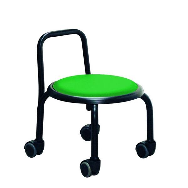 スタッキングチェア/丸椅子 【同色3脚セット グリーン×ブラック】 幅32cm スチールパイプ 『背付ローキャスターチェア ボン』【代引不可】【日時指定不可】