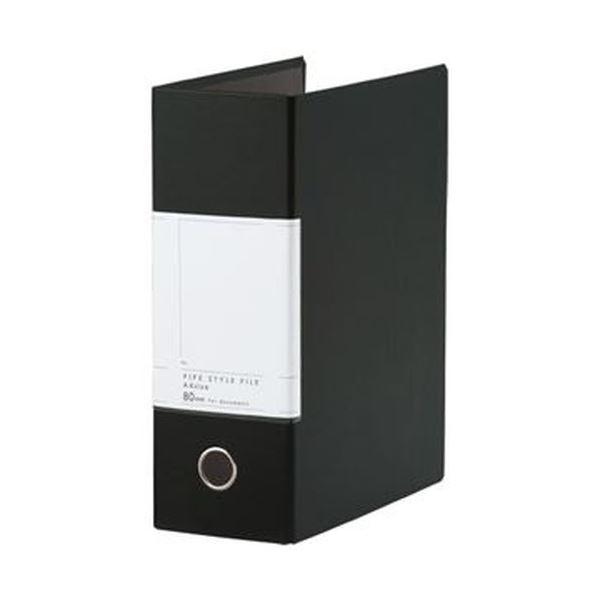 (まとめ)TANOSEE 両開きパイプ式ファイルSt A4タテ 800枚収容 80mmとじ 背幅107mm ブラック 1冊【×20セット】【日時指定不可】