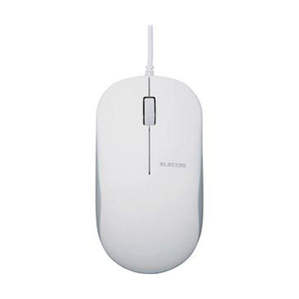 (まとめ)エレコム 有線3ボタンBlueLEDマウス ホワイト M-K7UBWH/RS 1個【×10セット】【日時指定不可】