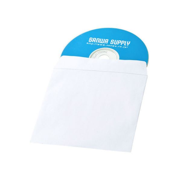 (まとめ) サンワサプライDVD・CDペーパースリーブケース(窓なしタイプ) FCD-PS100NWW 1パック(100枚) 【×10セット】【日時指定不可】