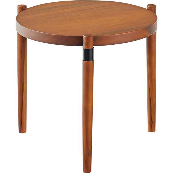 木製 ラウンドテーブル/センターテーブル 【S】 幅53cm×奥行53cm×高さ44cm 天然木 木目調【日時指定不可】