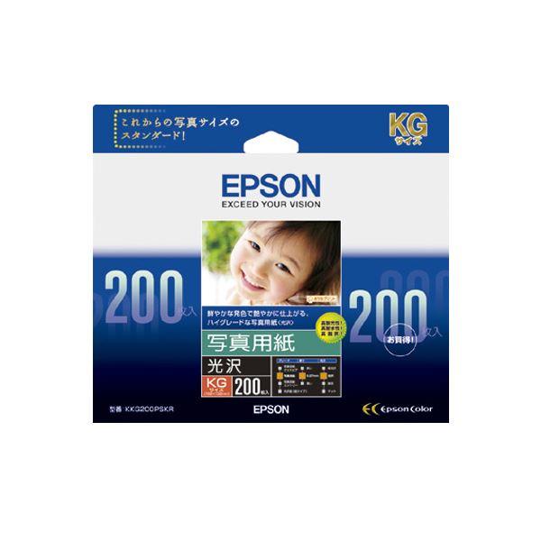 (まとめ) エプソン 写真用紙[光沢]KGサイズ KKG200PSKR 1箱(200枚) 【×5セット】【日時指定不可】