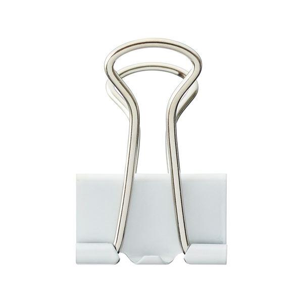 (まとめ) TANOSEE ダブルクリップ 中 口幅25mm ホワイト 1箱(10個) 【×100セット】【日時指定不可】