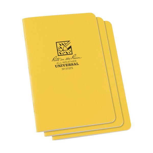(まとめ) ライトインザレインステイプルノートブック(セット) ユニバーサル イエロー 371FX 1パック(3冊) 【×5セット】【日時指定不可】