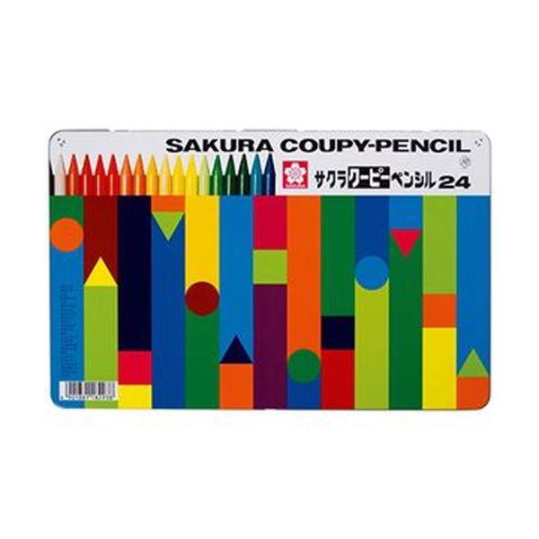 (まとめ)サクラクレパス クーピーペンシル24色(缶入)FY24 1パック【×10セット】【日時指定不可】