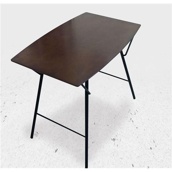 モダン 折りたたみテーブル 【幅120cm】 ダークブラウン×ブラック 日本製 耐荷重30kg 『トラス バレルテーブル 1250』【代引不可】【日時指定不可】