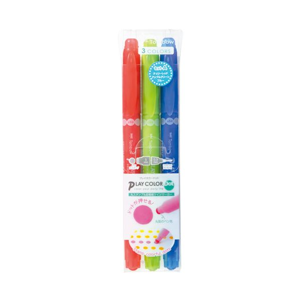 (まとめ)トンボ鉛筆 プレイカラードット 3色セットA GCE-311A【×50セット】【日時指定不可】