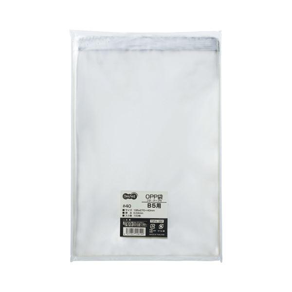(まとめ) TANOSEE OPP袋 フタ・テープ付 B5用 195×270+40mm 1セット(500枚:100枚×5パック) 【×5セット】【日時指定不可】
