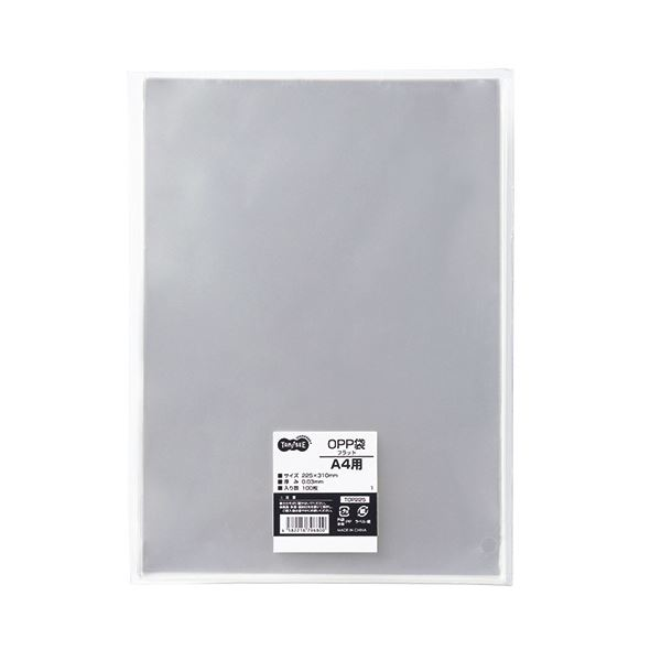 (まとめ) TANOSEE OPP袋 フラット A4用 225×310mm 1セット(500枚:100枚×5パック) 【×5セット】【日時指定不可】