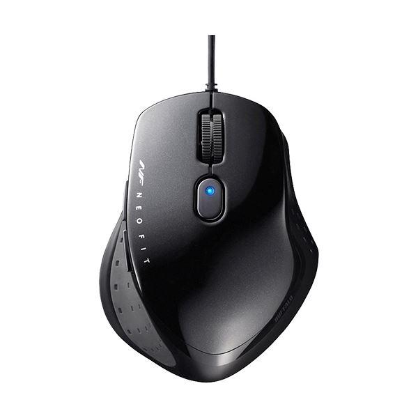 (まとめ) バッファロー 有線 BlueLED5ボタン ネオフィットマウス Mサイズ ブラック BSMBU510MBK 1個 【×10セット】【日時指定不可】
