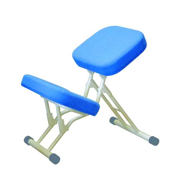 学習椅子/ワークチェア 【ブルー×ミルキーホワイト】 幅440mm 日本製 折り畳み スチールパイプ 『セブンポーズチェア』【代引不可】【日時指定不可】