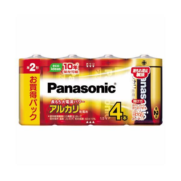 (まとめ) パナソニック アルカリ乾電池 単2形LR14XJ/4SW 1パック(4本) 【×30セット】【日時指定不可】