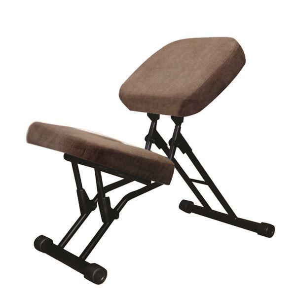 学習椅子/ワークチェア 【ライトブラウン×ブラック】 幅440mm 日本製 折り畳み スチールパイプ 『セブンポーズチェア』【代引不可】【日時指定不可】