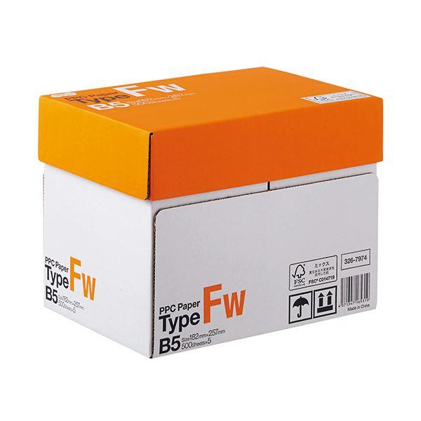 (まとめ) TANOSEE PPC PaperType FW B5 1箱(2500枚:500枚×5冊) 【×5セット】【日時指定不可】