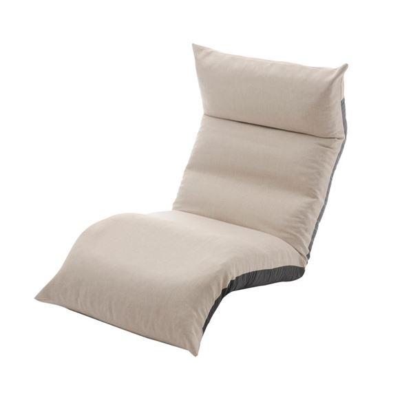 リクライニング フロアチェア/座椅子 【ベージュ】 幅54cm 日本製 折りたたみ収納可 スチールパイプ ウレタン 〔リビング〕【代引不可】【日時指定不可】