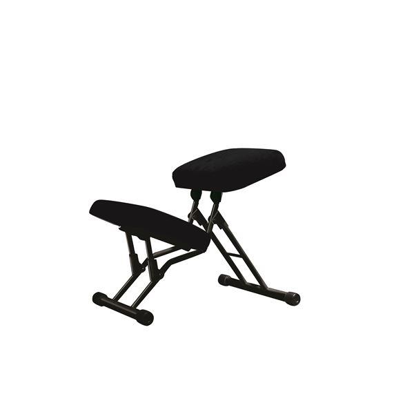 学習椅子/ワークチェア 【ブラック×ブラック】 幅440mm 日本製 折り畳み スチールパイプ 『セブンポーズチェア』【代引不可】【日時指定不可】