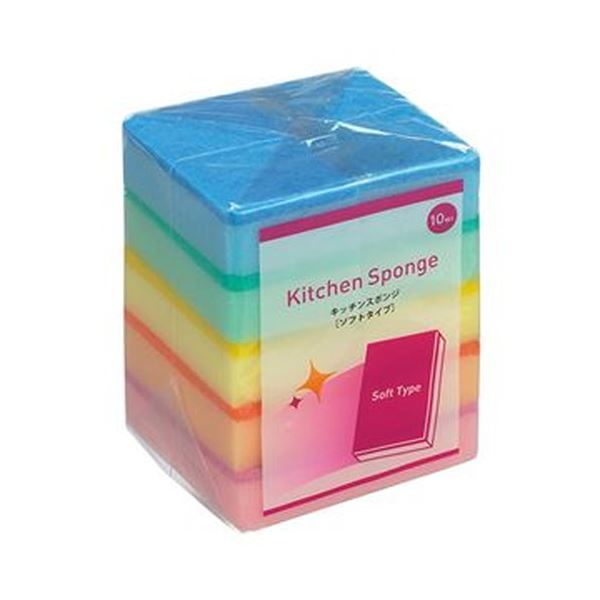 (まとめ)TANOSEE キッチンスポンジ ソフト 1パック(10個)【×50セット】【日時指定不可】