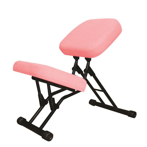 学習椅子/ワークチェア 【ピンク×ブラック】 幅440mm 日本製 折り畳み スチールパイプ 『セブンポーズチェア』【代引不可】【日時指定不可】