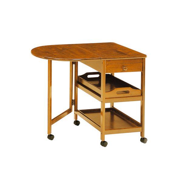 木製テーブル付きワゴン ブラウン 【幅850mm】 組立品【代引不可】【日時指定不可】
