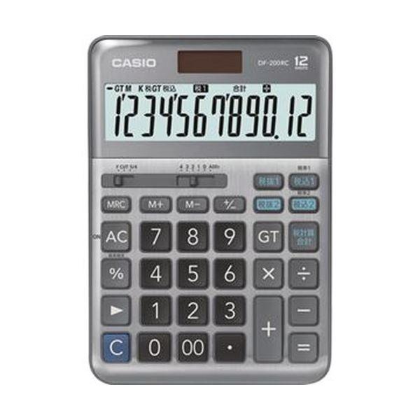(まとめ)カシオ 軽減税率電卓 12桁デスクタイプ DF-200RC-N 1台【×3セット】【日時指定不可】
