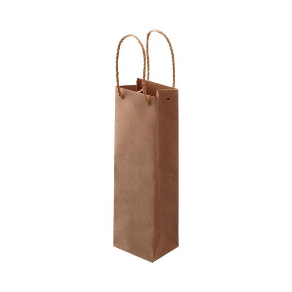 (まとめ) TANOSEE 紙手提袋 ワイン用 タテ長 ヨコ110×タテ360×マチ幅90mm 茶 1パック(30枚) 【×5セット】【日時指定不可】