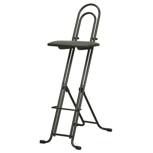 シンプル 折りたたみ椅子 【ブラック×ブラック 幅330mm】 日本製 スチールパイプ LP-800 『ジャンボベストワークチェア』【代引不可】【日時指定不可】