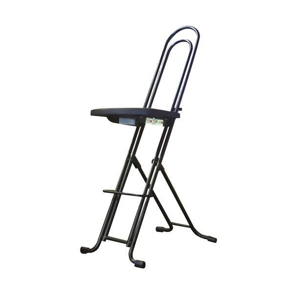シンプル 折りたたみ椅子 【ブラック×ブラック 幅335mm】 日本製 スチールパイプ LP-850 『ジャンボベストワークチェア』【代引不可】【日時指定不可】