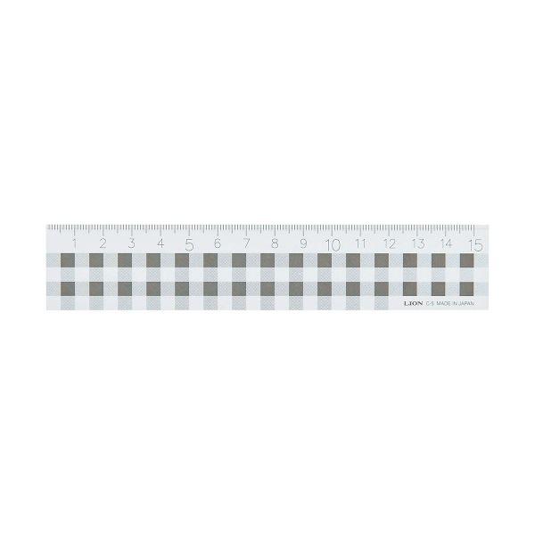 (まとめ) ライオン事務器 ギンガムチェック定規15cm ブラック C-5 1本 【×30セット】【日時指定不可】