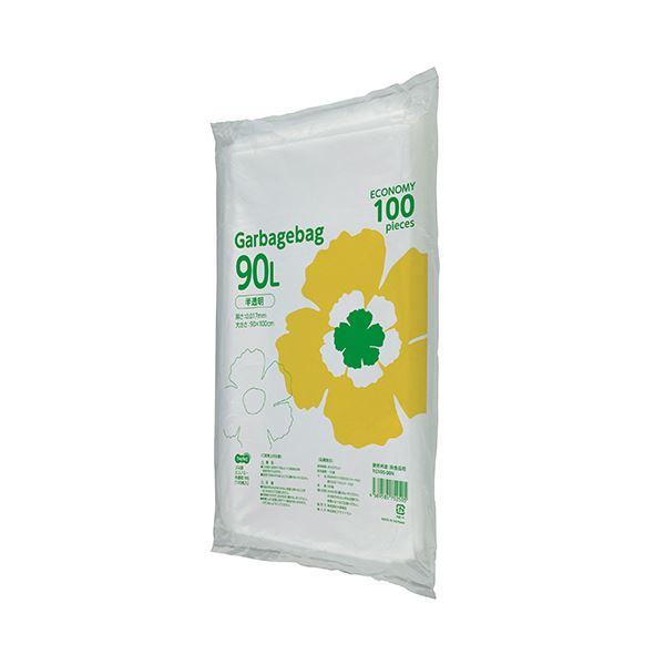 (まとめ)TANOSEE ゴミ袋エコノミー 半透明 90L 1パック(100枚)【×5セット】【日時指定不可】