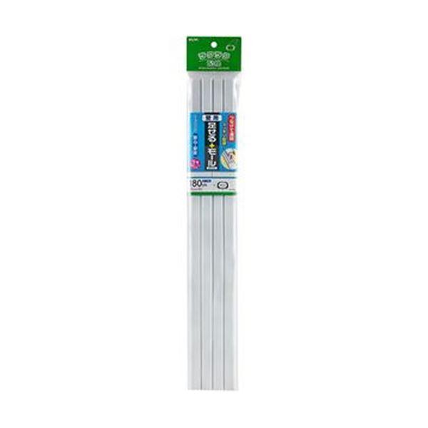 (まとめ)ELPA 足せるモール 壁用1号45cm テープ付 ホワイト PSM-N145P4(W)1パック(4本)【×20セット】【日時指定不可】