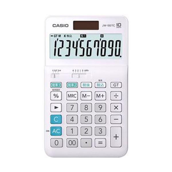 (まとめ)カシオ W税率電卓 10桁ジャストタイプ JW-100TC-N 1台【×10セット】【日時指定不可】