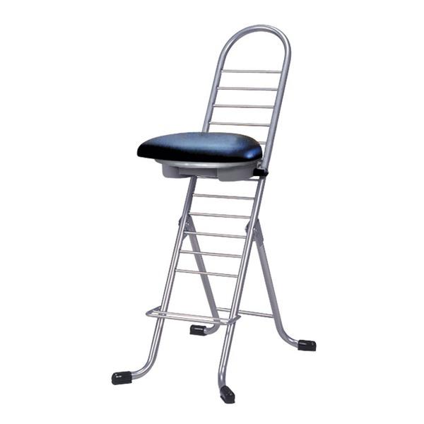 シンプル 折りたたみ椅子 【ブラック×シルバー】 幅420mm 日本製 スチールパイプ 『プロワークチェア ラウンド』【代引不可】【日時指定不可】