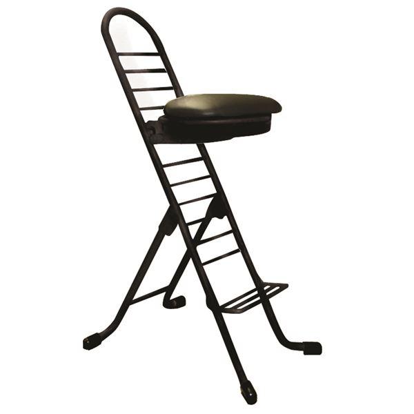シンプル 折りたたみ椅子 【ブラック×ブラック】 幅420mm 日本製 スチールパイプ 『プロワークチェア ラウンド』【代引不可】【日時指定不可】