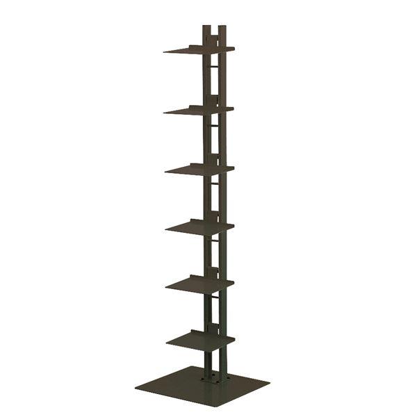 タワーシェルフ/収納棚 【ブラック】 幅35cm×奥行33cm×高さ130cm 日本製 スチール製 棚板6枚付き 【代引不可】【日時指定不可】