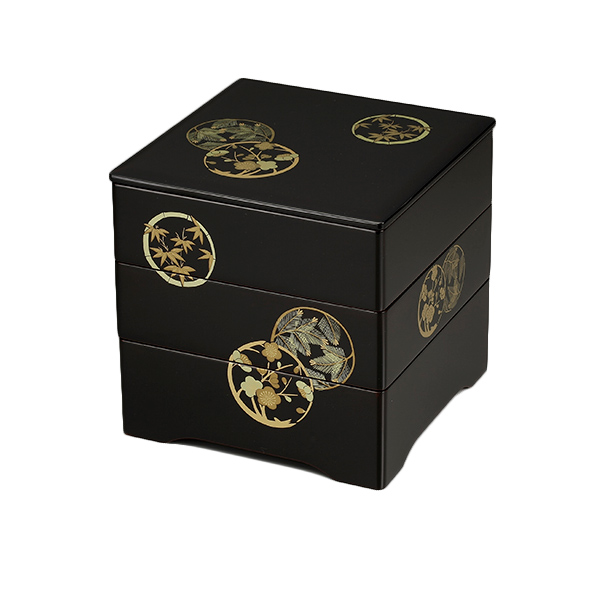重箱 3段 6.5寸 伝統会津塗 溜内朱 三段重 後払い