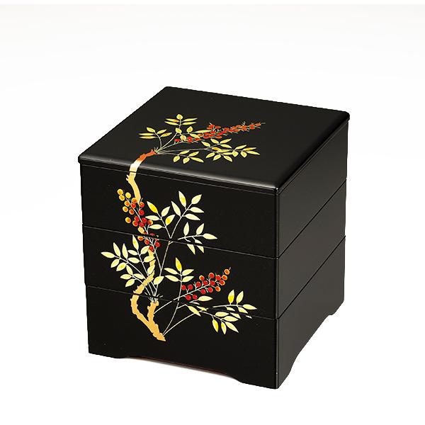 重箱 3段 漆塗り 6.5寸 南天 伝統会津塗