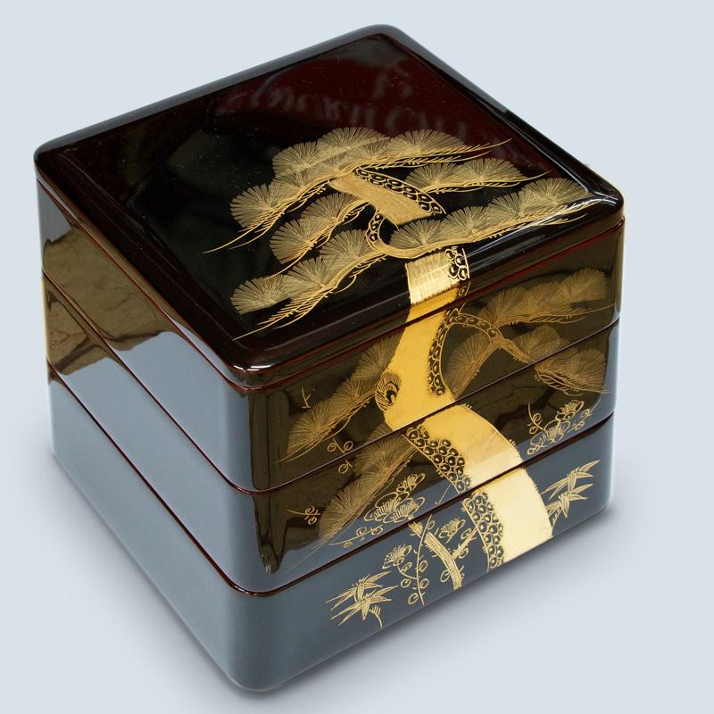 重箱 溜内朱7.0二段 漆塗り 最高級会津沈金彫24金 花丸松鶴