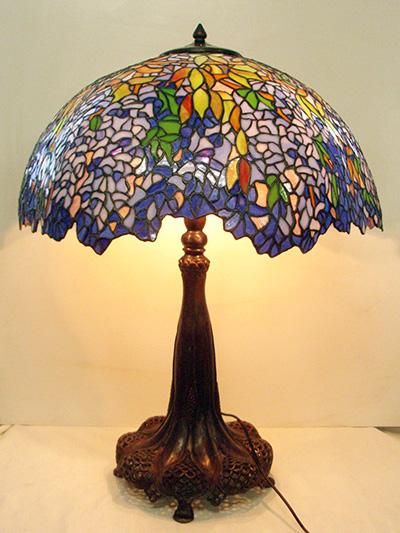ステンドグラスランプ シェード ステンドガラス ティファニーレプリカ ウィステリア(藤)照明