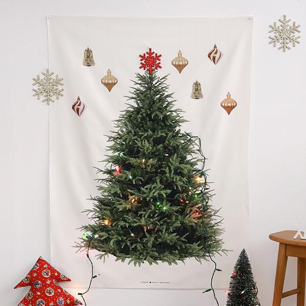 壁に貼るだけでツリーを楽しめる♪ツリー柄パネル生地 生地 布 北欧風 クリスマスパネル生地/オックス/幅109cm≪ オーナメントツリー(ハンギング) ≫【柄単位販売】【葉】【ユニーク】【白】【緑】 クリスマスタペストリー ツリー 壁掛け ウッド柄パネル【メール便対応】